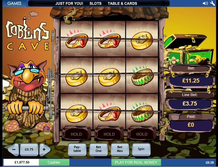 Plansza gry 3 x 3, z Goblinem po lewej stronie. RTP Goblins Cave wynosi aż 99,32% a bonus Goblins Cave to dodatkowa runda!