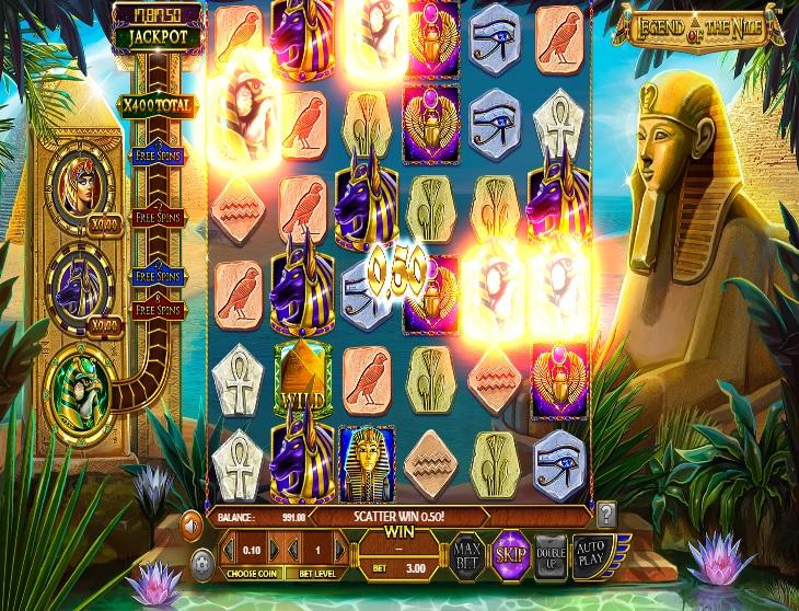 Plansza gry, przedstawiająca bonus Legend of the Nile. RTP Legend of the Nile wynosi ponad 95%.