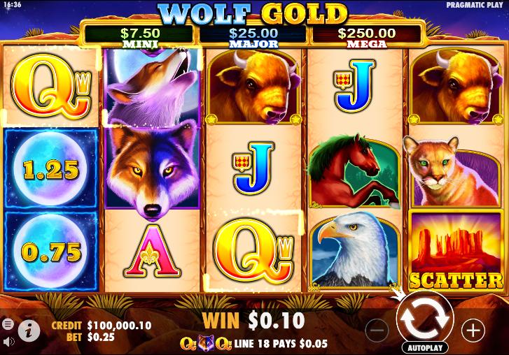 Plansza gry, na której widać bonus Wolf Gold. RTP Wolf Gold wynosi aż 96!