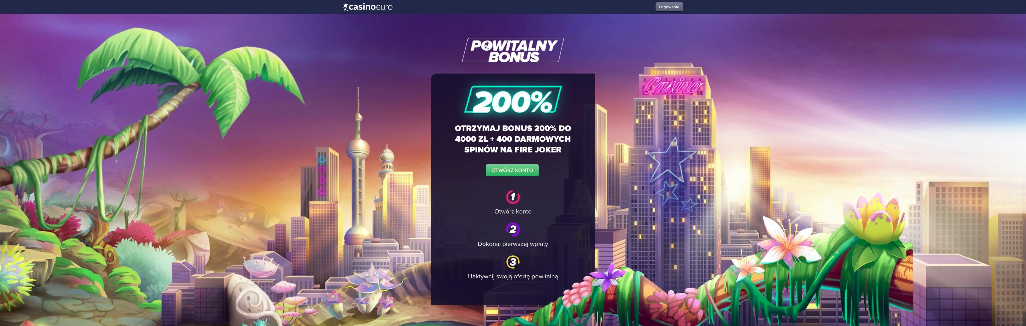 Zarejestruj się do Casino Euro i odbierz bonus powitalny do 200%!