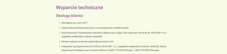 Sprawdź, jak skontaktować się z obsługą kasyna YoYo.
